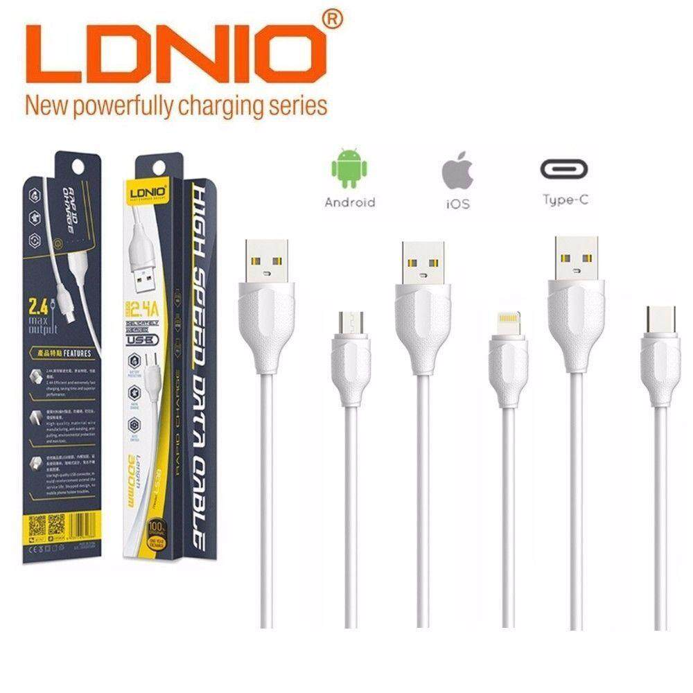 LDNIO LS38 30cm High Speed Data Cable 2.4A Rapid Charge (Micro/Lightning/Type-C)