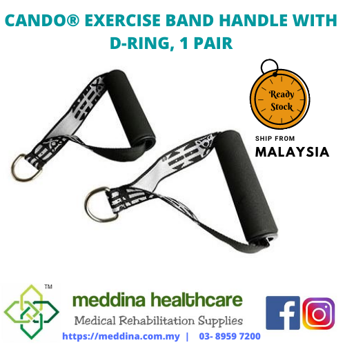 CANDO® EXERCISE BAND HANDLE WITH D-RING, 1 PAIR