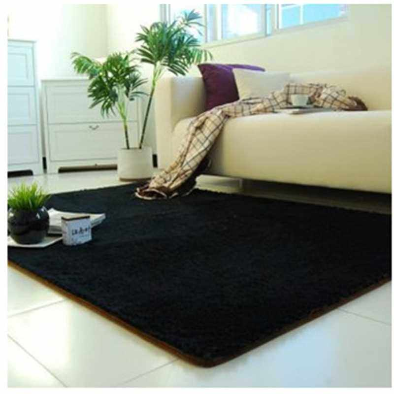 Factory direct thickened washed silk wool non-slip carpet living room coffee table bedroom bedside yoga mat can be customized black (Black)