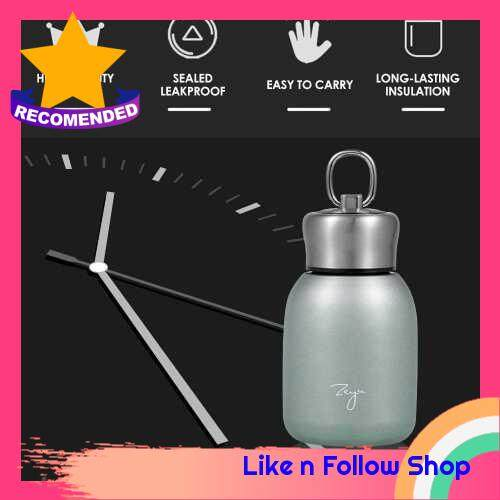 Water Bottle Stainless Steel Matte 300ml Vacuum Insulated Small Water Bottle for Kid Lid with Hook (Green)