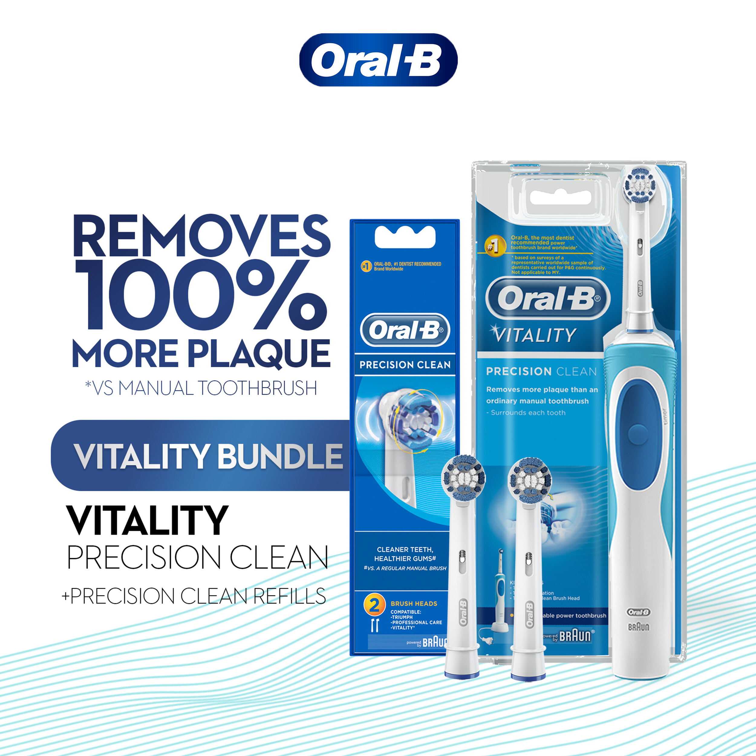 Oral-B Vitality Precision Clean Electric Toothbrush & Precision Clean Refill 2 Count