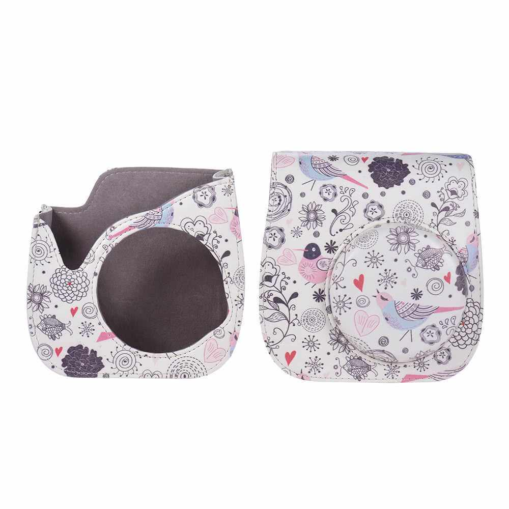 Andoer Compact Cute Lovely PU Leather Protective Camera Bag Carrying Case Pouch Cover Protector Bird Pattern w/ Shoulder Strap Album Pocket for Fujifilm Instax Mini 8+/8s/8/9 Camera (Color1)
