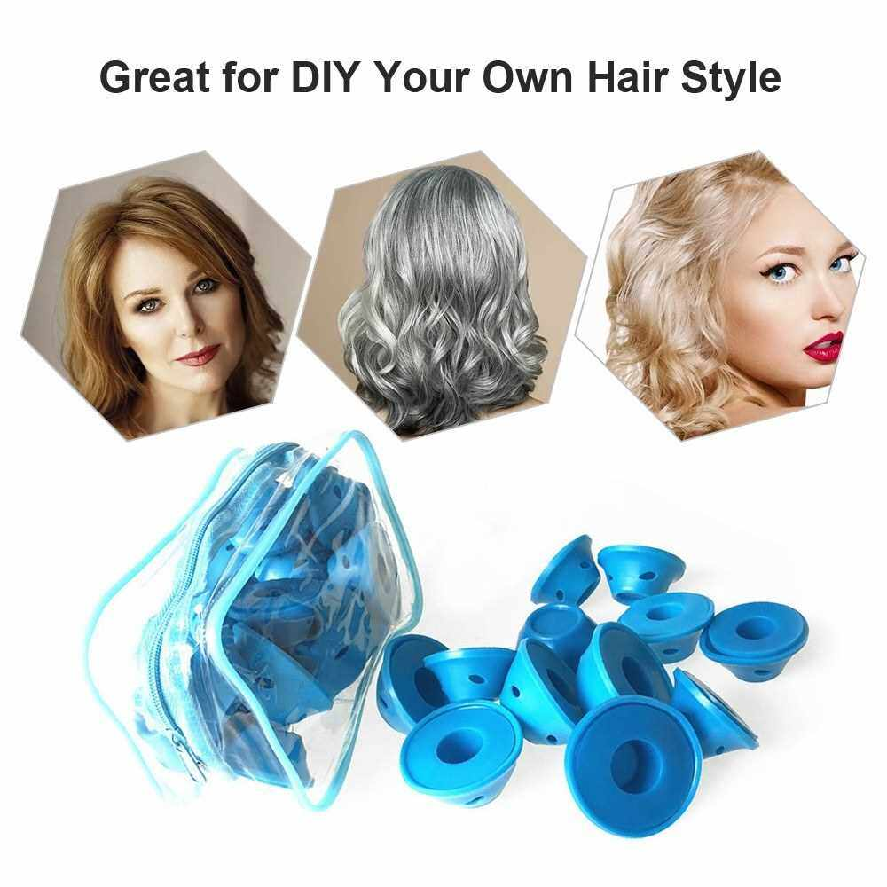 Hair Rollers Set Large & Small Silicone Curlers Kit for Hair Styling Silicone Curling Rollers Salon Tool (Dark Blue)