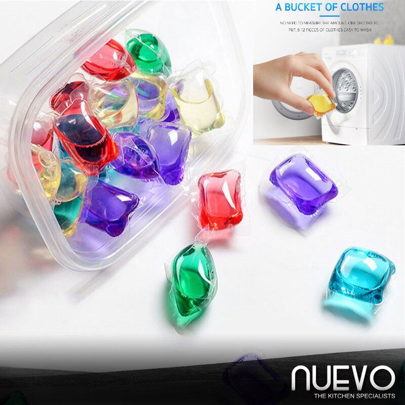 50pcs/Box (8g) Multifunction Clothes Bead Capsule Pod Dissolve Cleaning Stains Laundry Detergent Washes Clothes Liquid