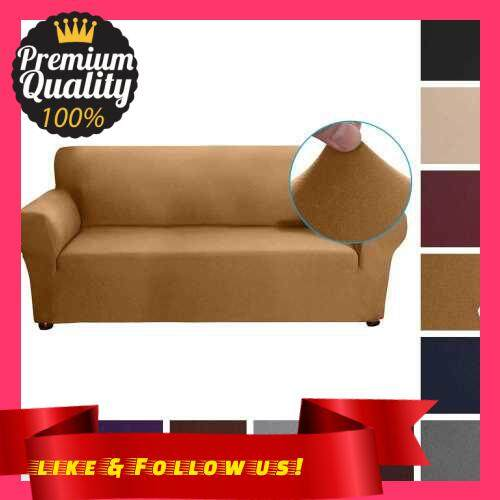 People\'s Choice Stretch Sofa Slipcover Milk Silk Fabric Anti-Slip Soft Couch Sofa Cover 3 Seater Washable for Living Room Kids Pets(Camel) (Type 3)