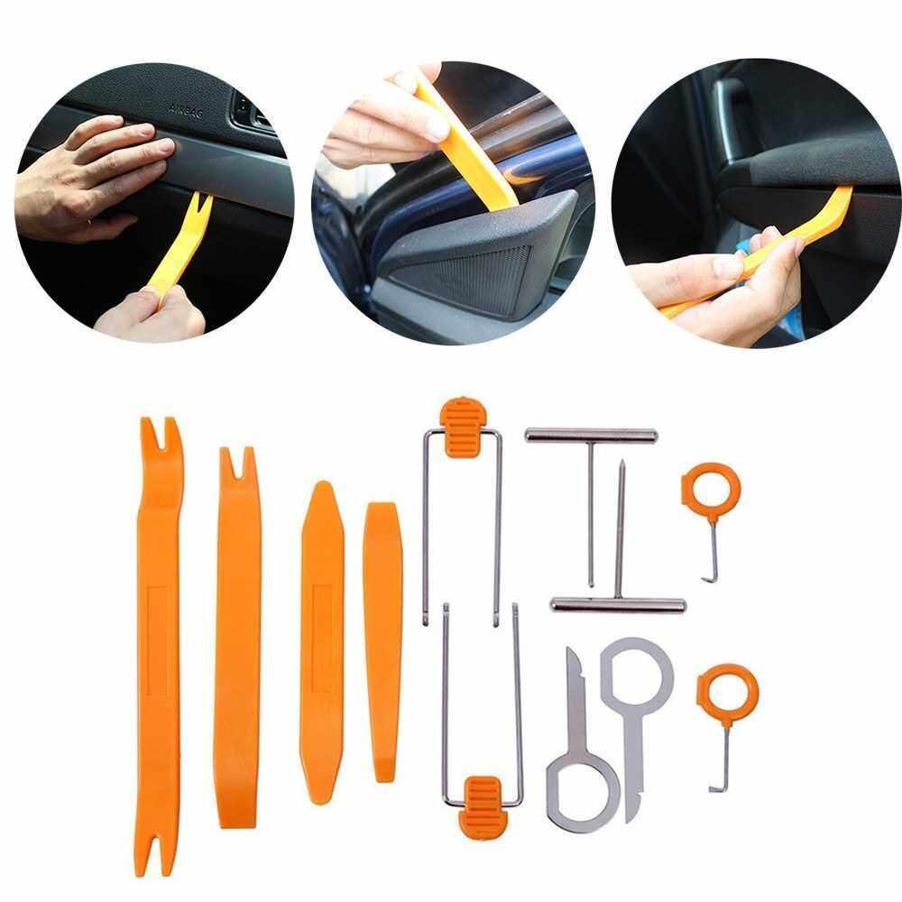 12pcs Universal Plastic Car Door Clip Panel Trim Dash Radio Audio Removal Open Pry Tools Kit (Standard)