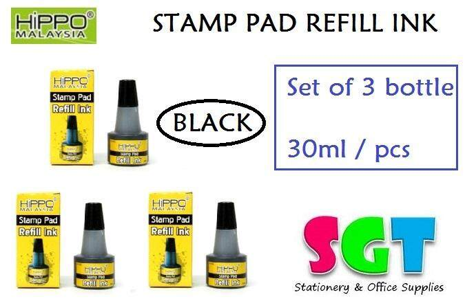 HIPPO Stamp pad Refill ink 30ml ( set of 3 ) Black Colour
