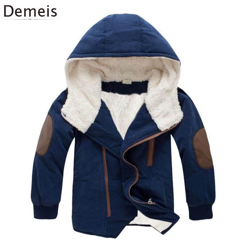 Demeis เด็กชายหญิง Thicken ขนแกะขนาดกลางยาว Hooded Coat