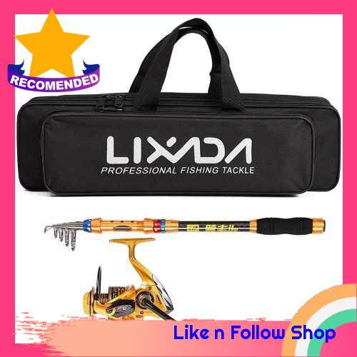 Lixada Spinning Fishing Reel and Rod Combo Portable Telescopic Fishing Pole Reel Set with Fishing Tackle Bag Carrier Case for Sea Fishing (210)