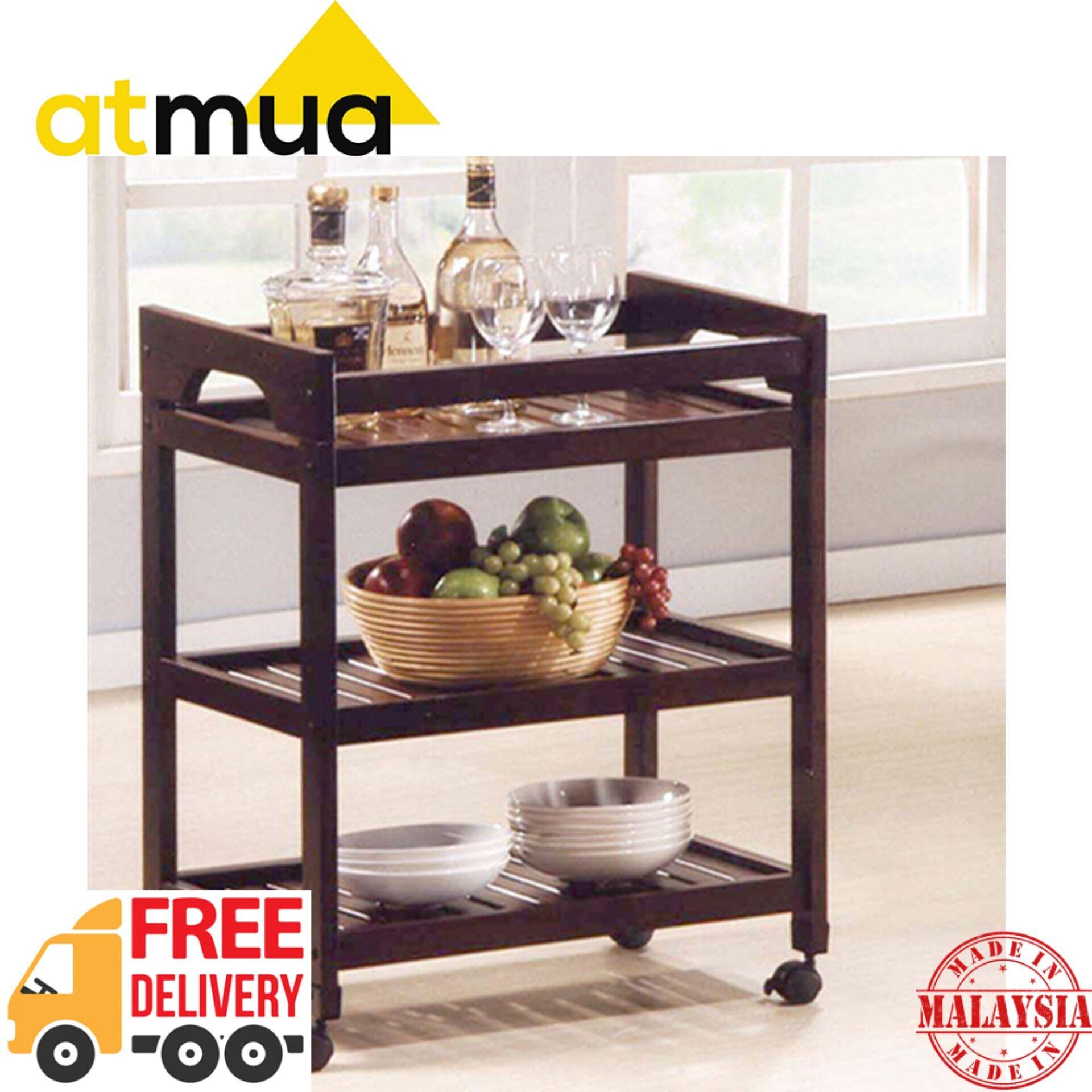 [FREE SHIPPING] Atmua Advo Trolley 3 Tier Trolley Kitchen Storage Racks Office Shelves [Full Solid Wood]