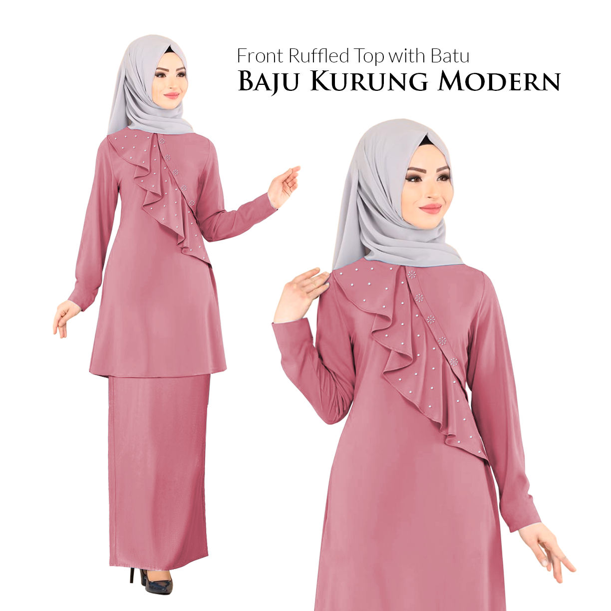 Harga KM Fashion Front Ruffled Top with Batu Baju Kurung Modern (Hot Item) (New Arrival) 2020