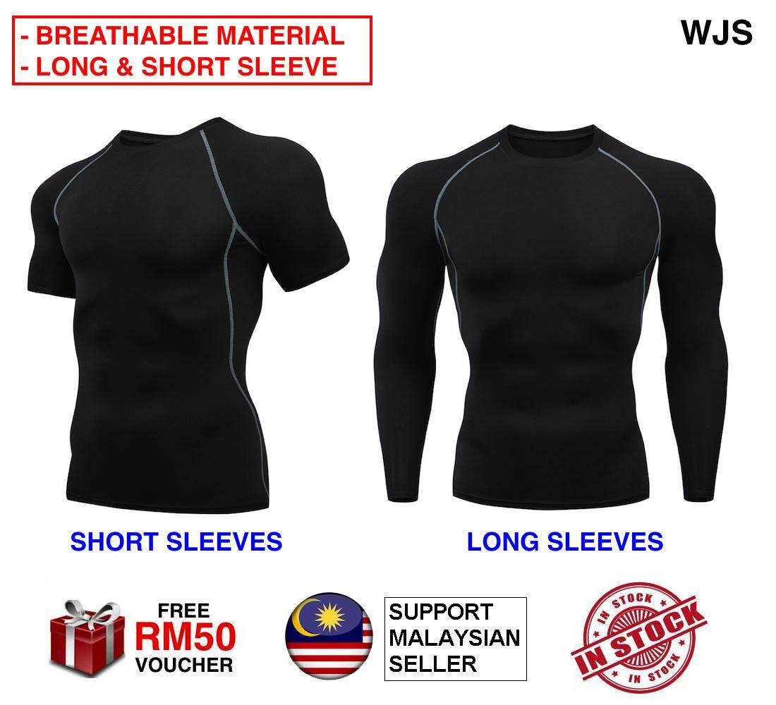 (BREATHABLE MATERIAL) WJS Men Gym Tights Man Gym Shirt Outdoor Shirt Jogging Shirt Sweat Shirt Compression Shirts Fitness Sports Running Tshirt Slimfit Slim Fit Tights Quick-drying Fit Training Sweat Shirt LONG SLEEVE SHORT SLEEVE [FREE RM 50 VOUCHER]