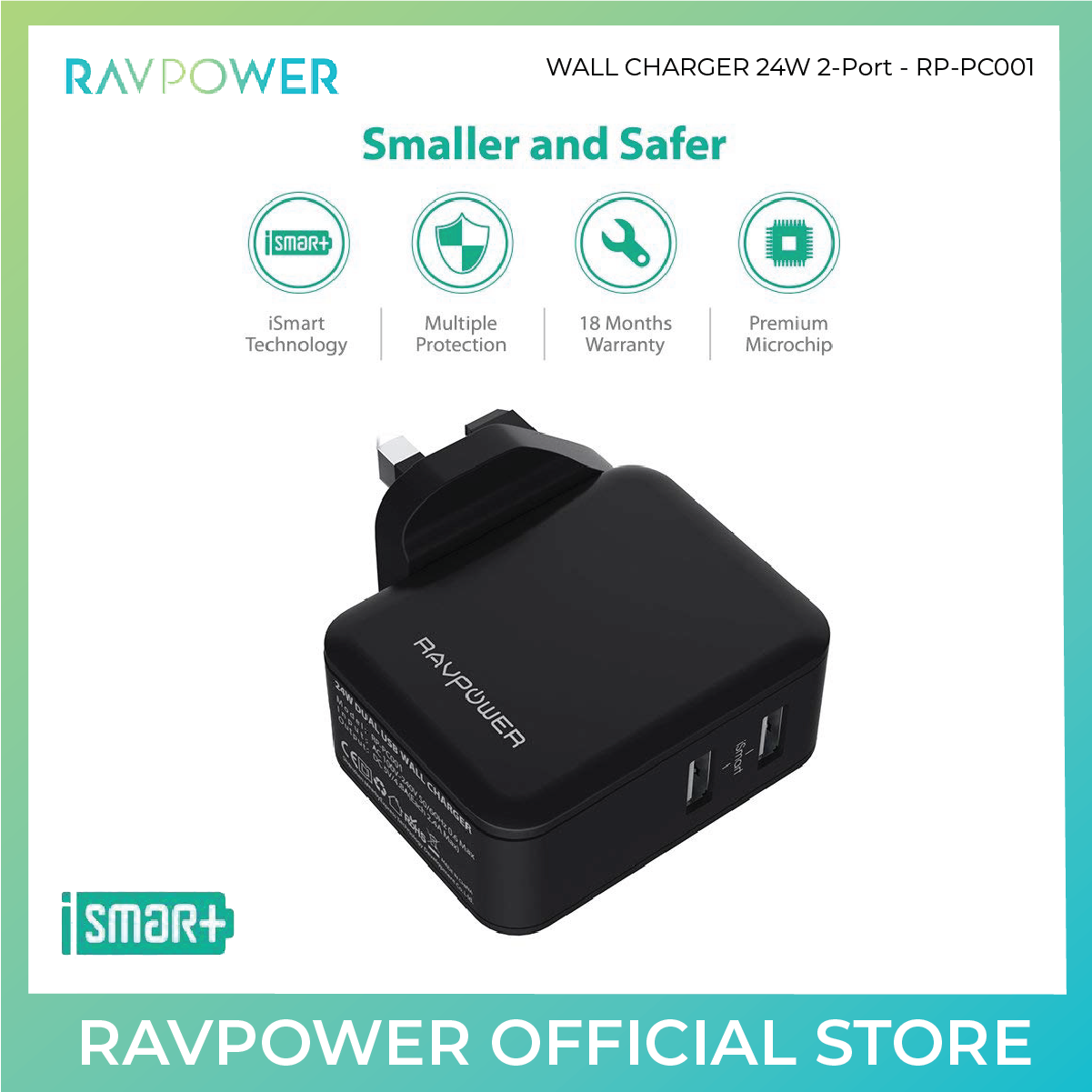 RAVPower 24W Dual USB Wall Charger Travel Adapter - RP-PC001