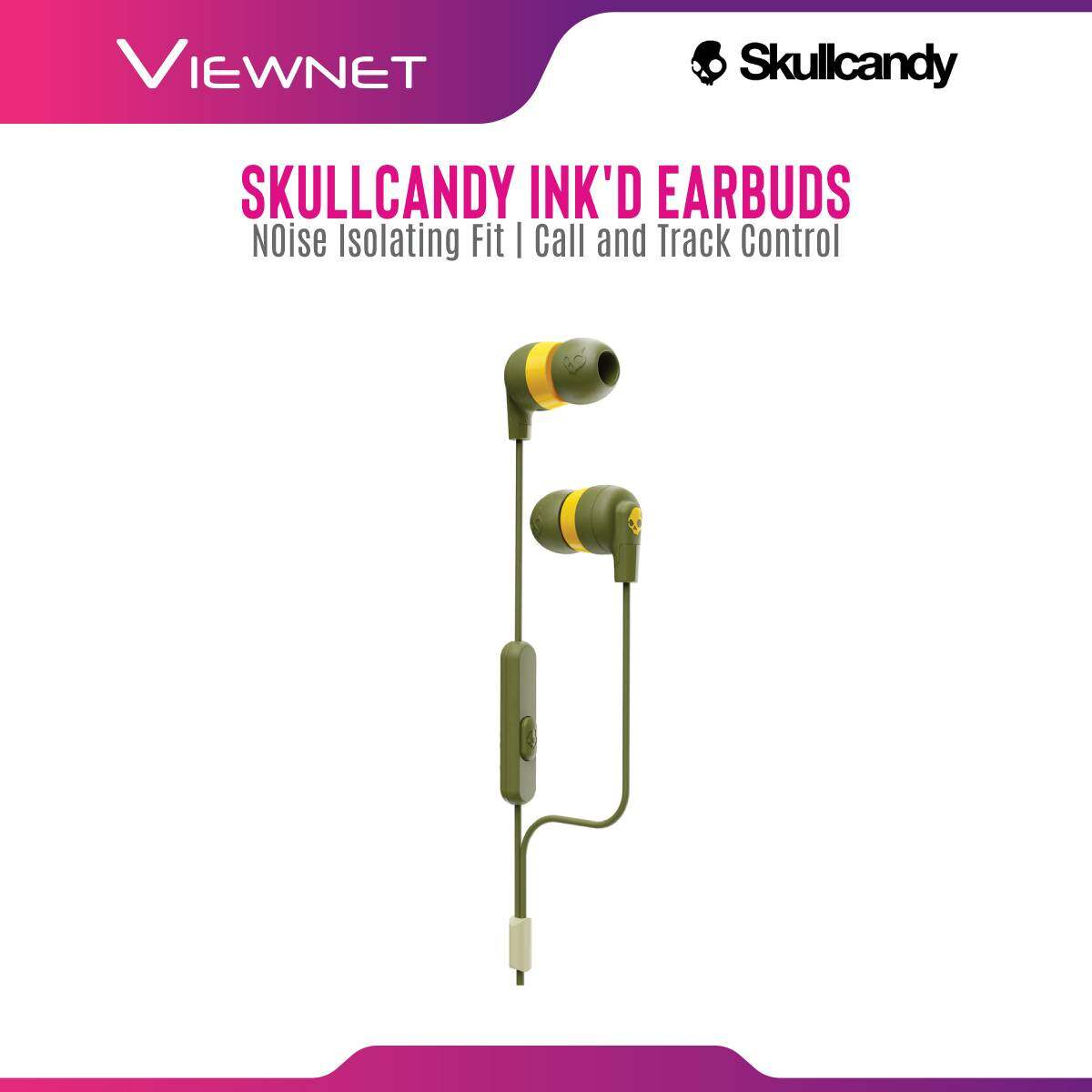 Skullcandy Ink'd+ Earbuds with Microphone, Noise Isolating Fit, Call and Track Control