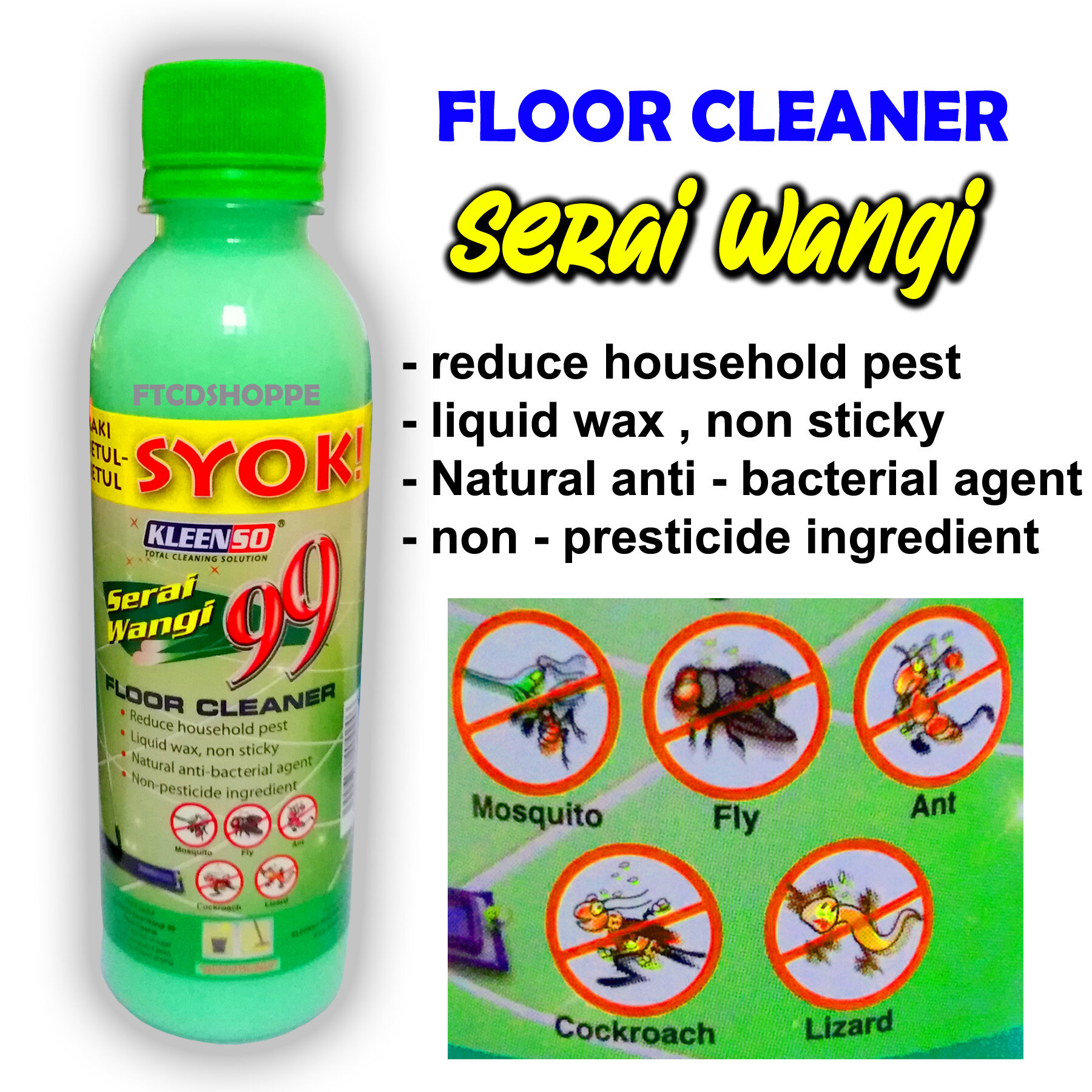 KLEENSO Floor Cleaner Liquid Serai Wangi 99 / Cecair Pembersih Lantai Serai Wangi 99  (250 ml)