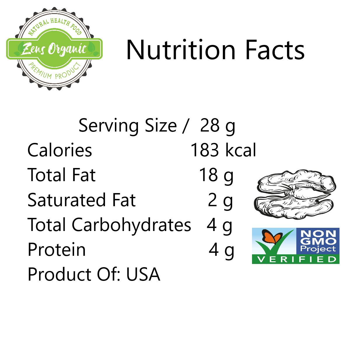 Zens Organic Natural Walnut Halve 500g (Product of USA)