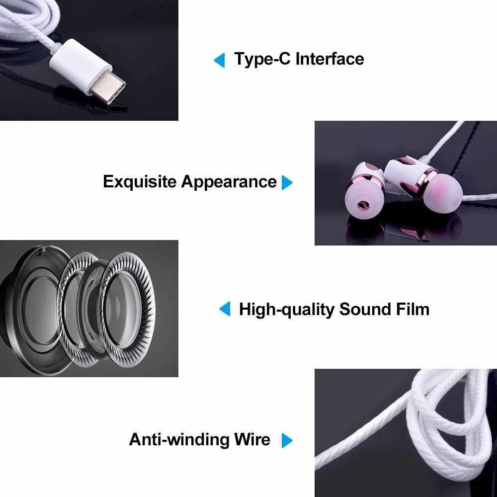 People's Choice Portable USB Type-C Wired In-Ear Earphone With Mic (Blue2)