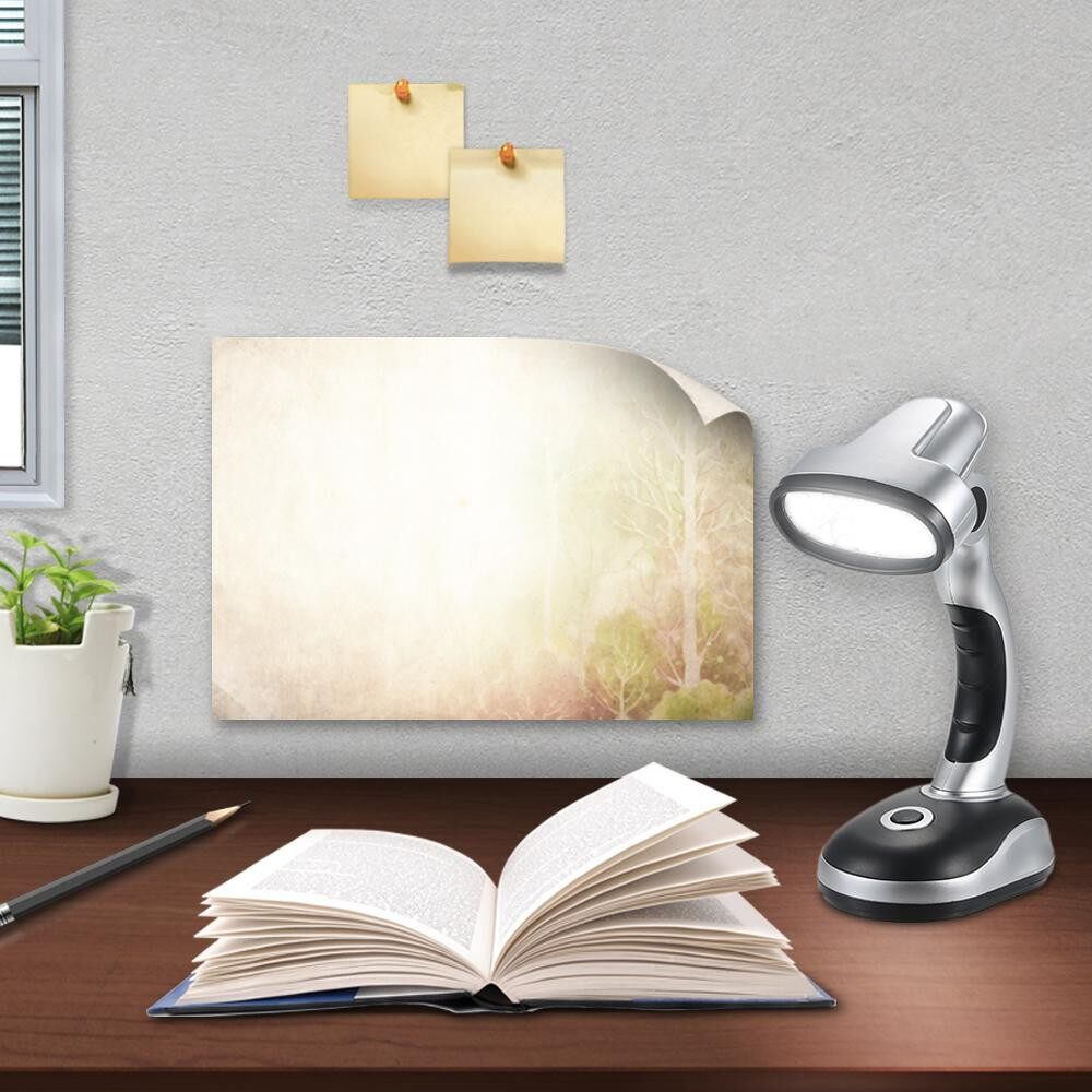 Table Lamps - 12 LED PORTABLE Desk Light Table Lamp 3 AA Batteries Operated Adjustable Illumination Angle for - GREY