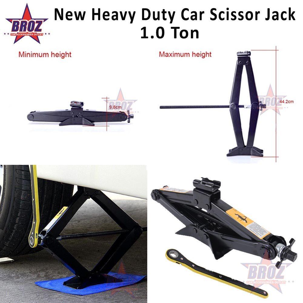 [New] DIY Heavy Duty Car Scissor Jack Stabilizer with Handle Lift Levelers Scissors Jack (1 Ton)