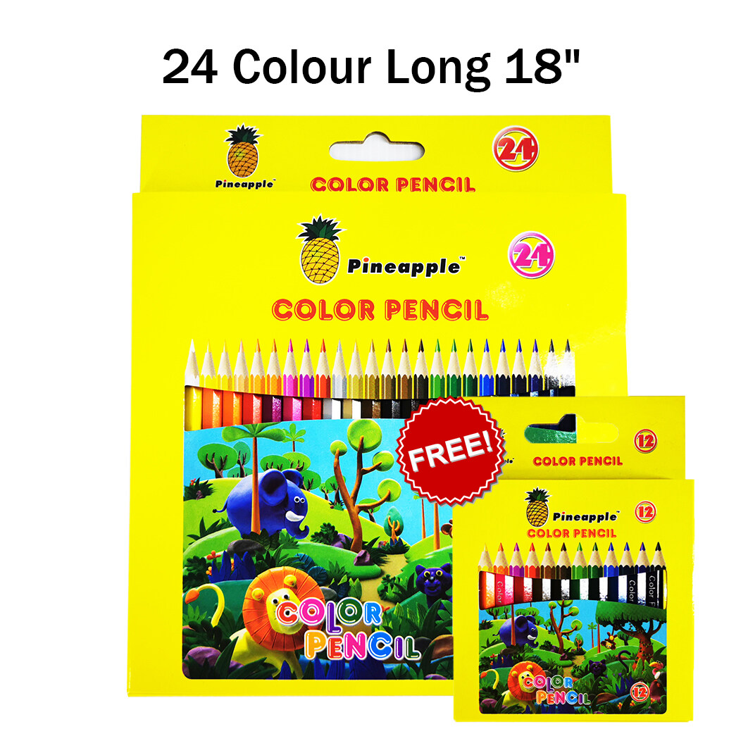 Pineapple Colour Pencil 24 Color Set Drawing Colored Pencils Pack Stationery (Free 12 Color)