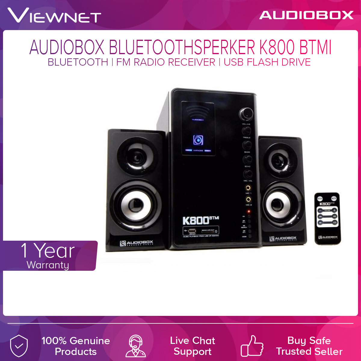 Audiobox Bluetooth Speaker K800 BTMI with USB-Flash Driver, SD-Card Reader,FM Radio Receiver, Support MP3 Songs, 2 Microphone Jack