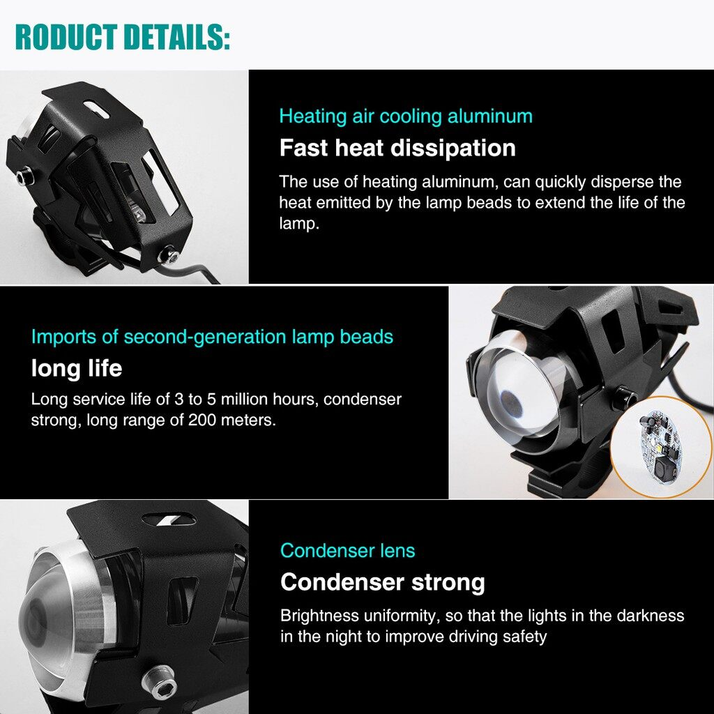 USB Light - 125W 3000LM U5 LED MOTORCYCLE BIKE HEADLIGHT DRIVING FOG LAMP SPOT LIGHT - BLACK / BLUE / SILVER / GOLD