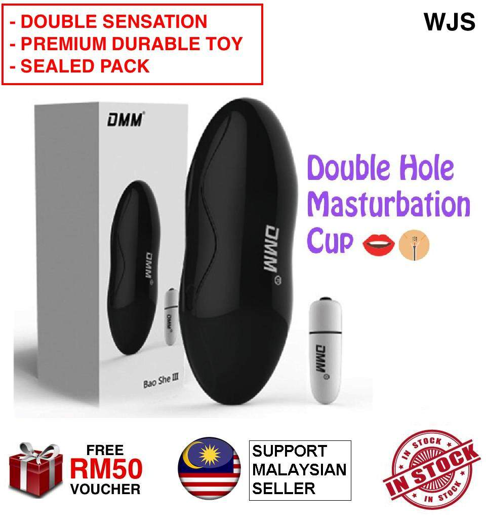 (DOUBLE SENSATION) WJS DMM Double Holes Vagina and Mouth Vibration Premium Durable Masturbation Cup Aeroplane Cup Double Hole Dual Hole Fleshlight Flesh Light Oral Sex Sex Toy for Men Sealed Pack BLACK WHITE [FREE RM50 VOUCHER]