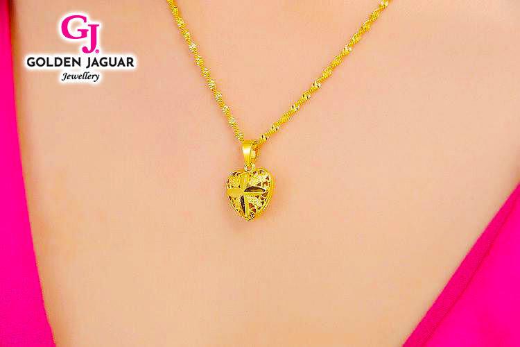NEW GJ Jewellery Emas Korea Pendant - Gila-Gila + Flower Heart Necklace