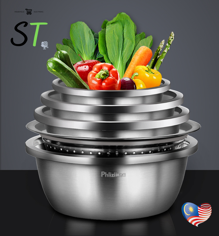 Phlizii 5-Piece Mixing Bowl 304 Stainless Steel Wash Basin/ Drain Basket / Mangkuk Adunan / 搅拌碗