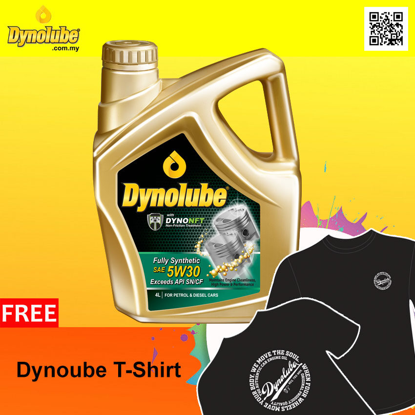 Dynolube 5W30 with DYNONFT Fully Synthetic Engine Oil SN/CF 4Liter FREE 1 X T-Shirt (I)