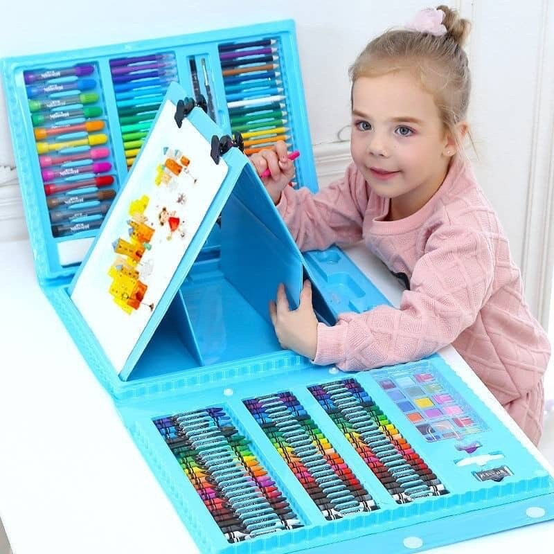 208pcs Kids Painting Pen Colour Crayon Marker Pencil Drawing Art Set 208 pcs color stationery set-Pink