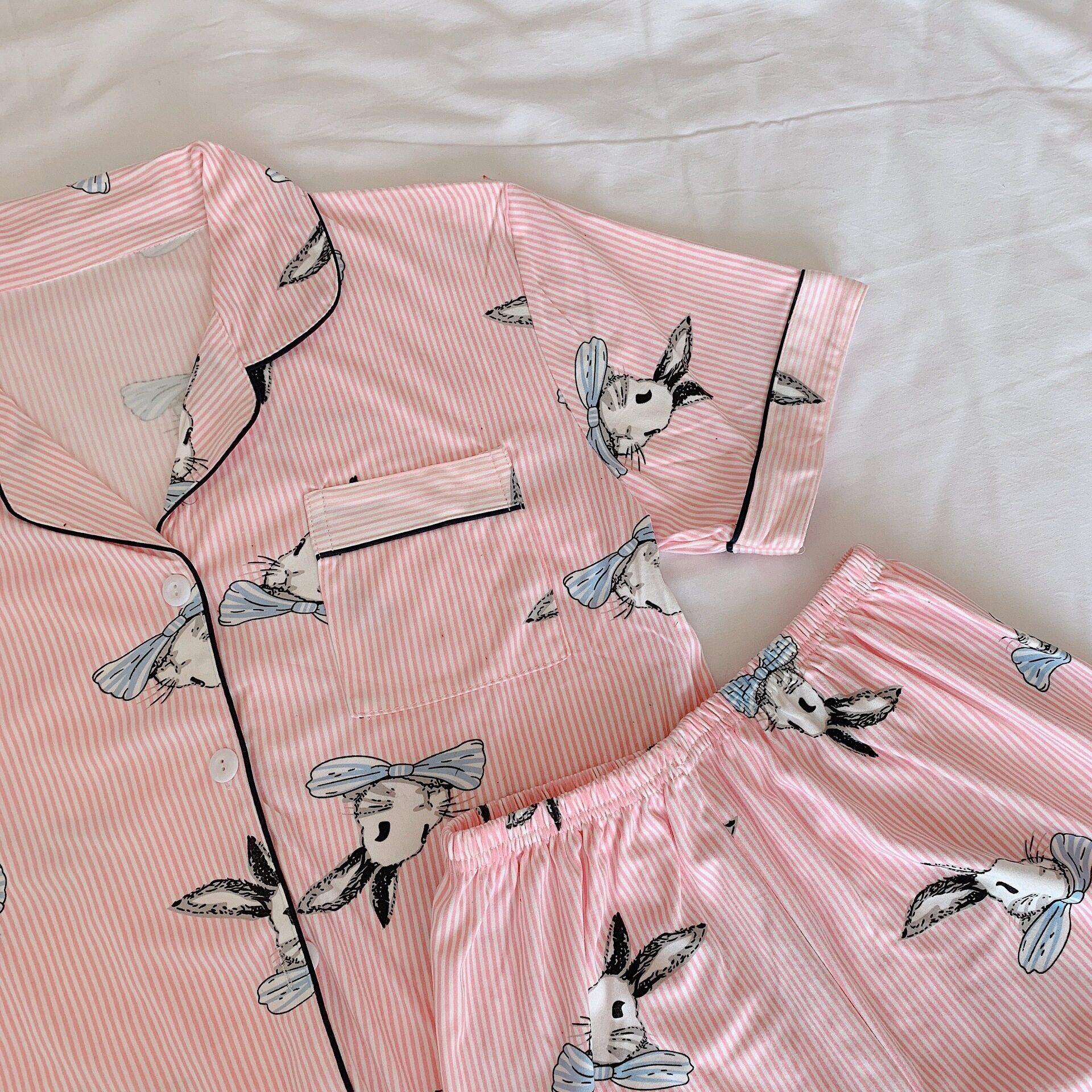 Women Short Sleeve Short Pants Cartoon Cotton Sleepwear Pajamas Dress Cute Pajamas Nightwear Set of 2 ( Top + Pants )