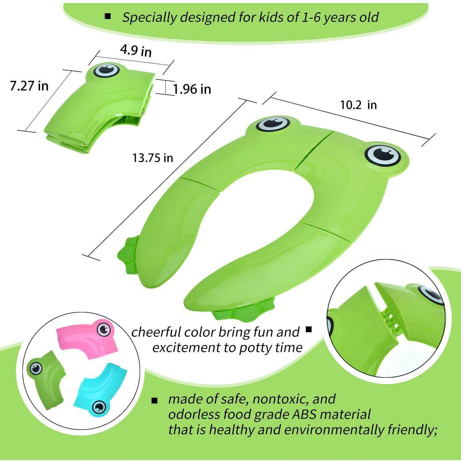 Portable Potty Foldable Travel Training Seat Pad Large Non Slip Silicone Pads Kids Boys Girls Toddlers Children Babies Reusable Upgraded Toilet Potty Seat Cover
