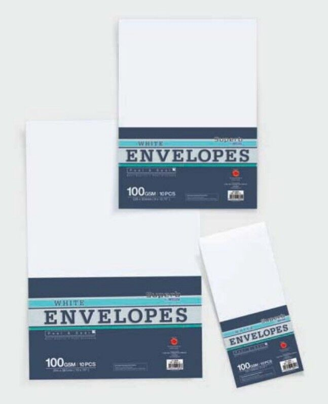 "CAMPAP CS12801 102x229mm (4x9"") WHITE ENVELOPES 10's 100gms (Peal & Seal) x 14packs"