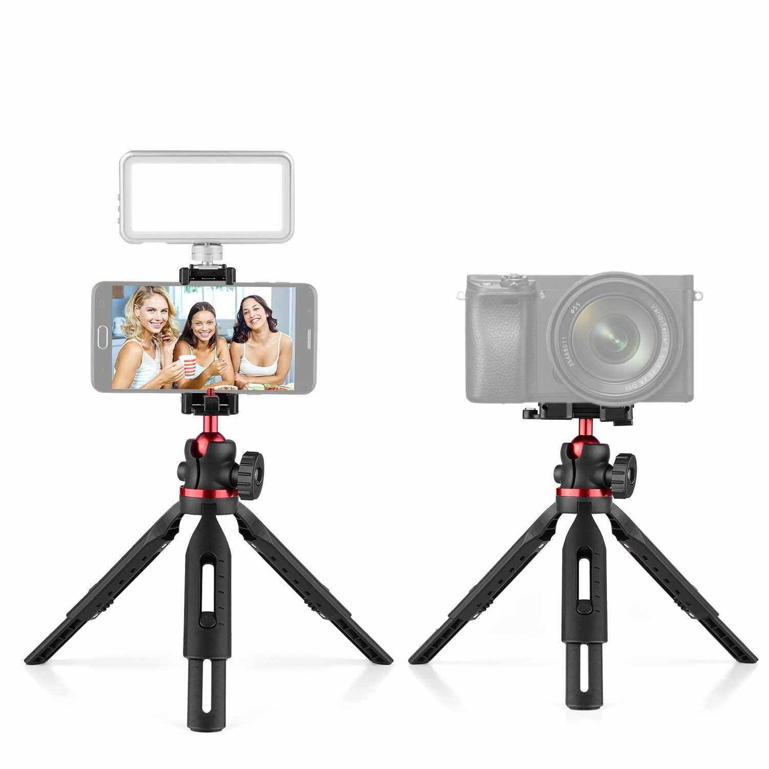 Phone Table Tripod Stand Height Adjustable 360 Horizontal with 1/4 Screw Thread Integrated Phone Clamp Cold Shoe Mount with Bubble Level (Standard)