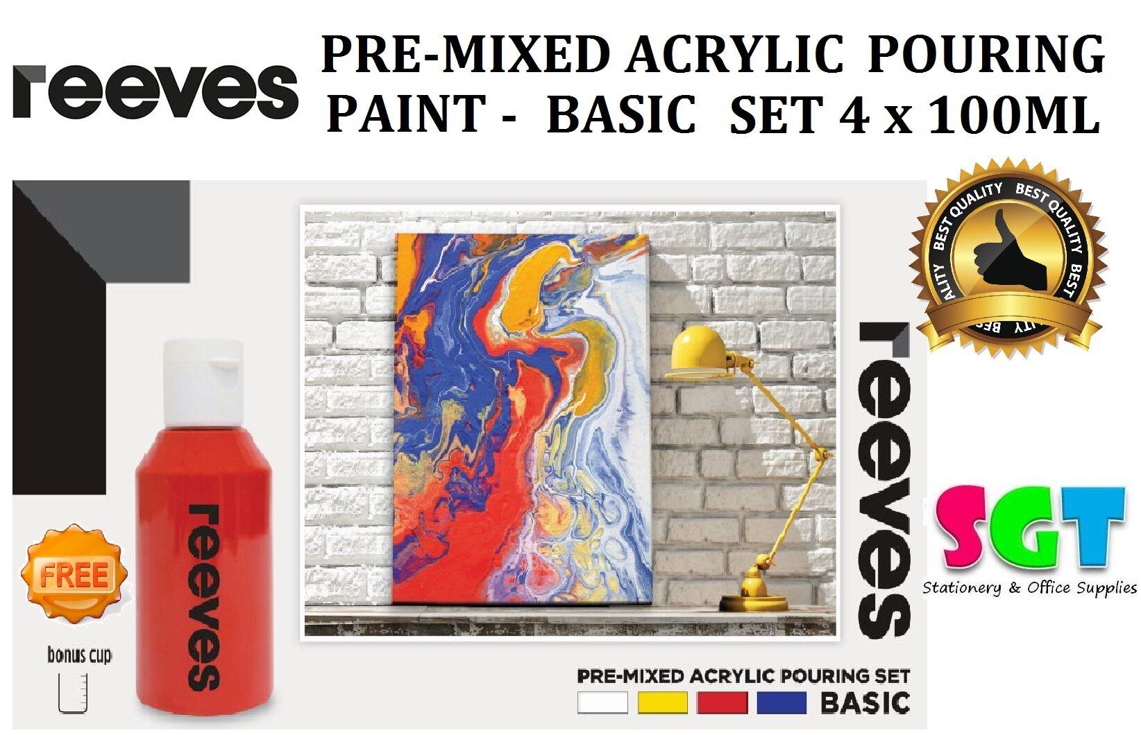 REEVES Pre-Mixed Acrylic Pour Paint Sets ( Set 4 x 100ml ) Basic Set