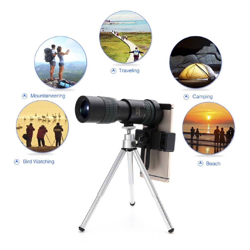 Phone Holder & Stand - Zoom Telephoto Telescope Optical Monocular Phone Camera Lens +Clip+Tripod - Cases Covers