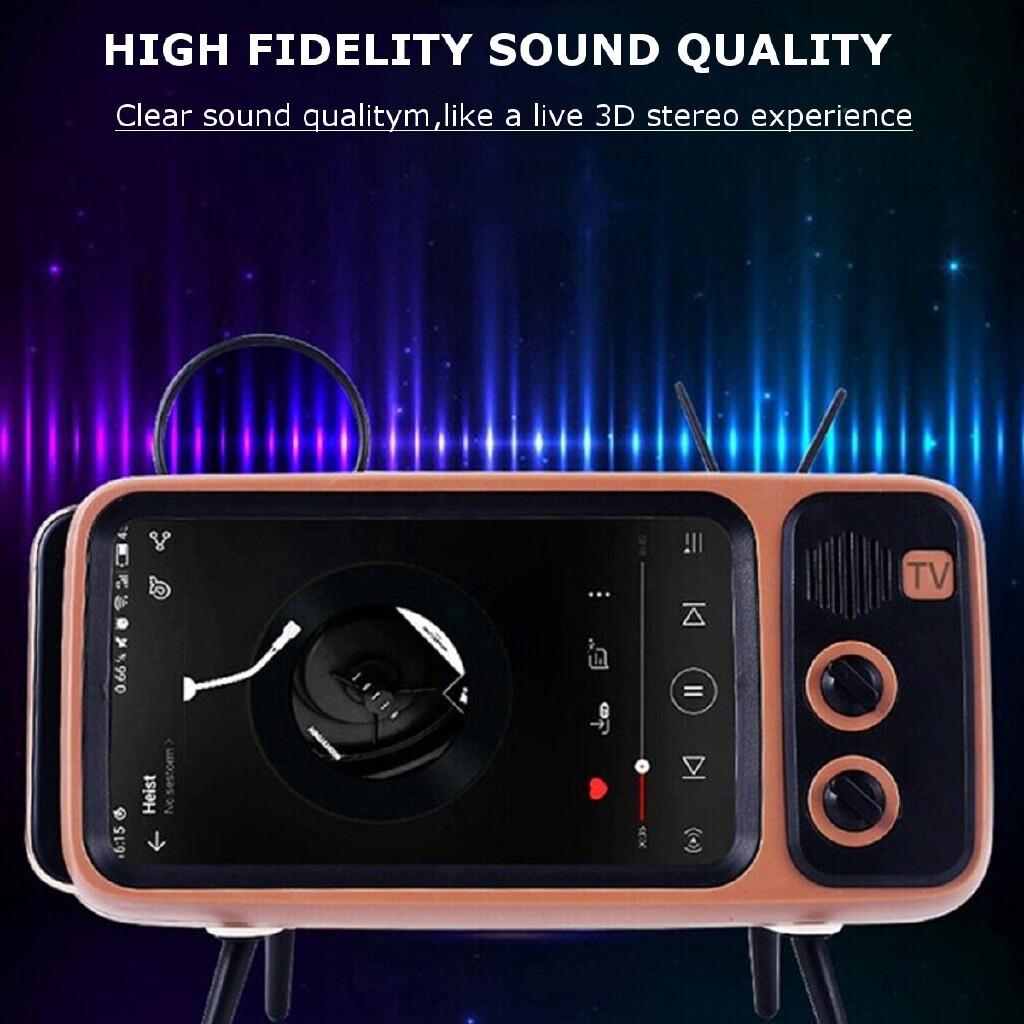 Phone Holder & Stand - 3W Retro TV Mobile Phone Stand Lazy Phone Holder MINI BLUETOOTH Audio Speaker - BLUE / BLACK / SILVER / COFFEE / ORANGE