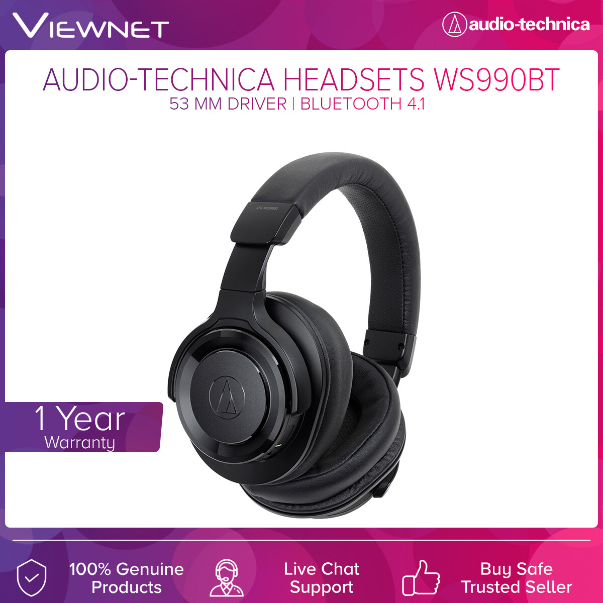 Audio-Technica Wireless Headsets ATH-WS990BT with 53mm Driver, Bluetooth 4.1, Noise Cancelling, Solid Bass, 5 - 40,000 Hz Frequency, 35 Hours Battery Life