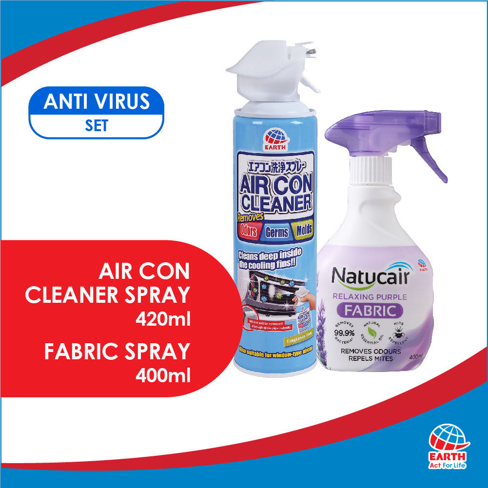 Anti-Virus Set: Earth Anti-Bacterial & Fragrance-Free Air Con Cleaner Spray & Natucair Fabric SprayEHB000010