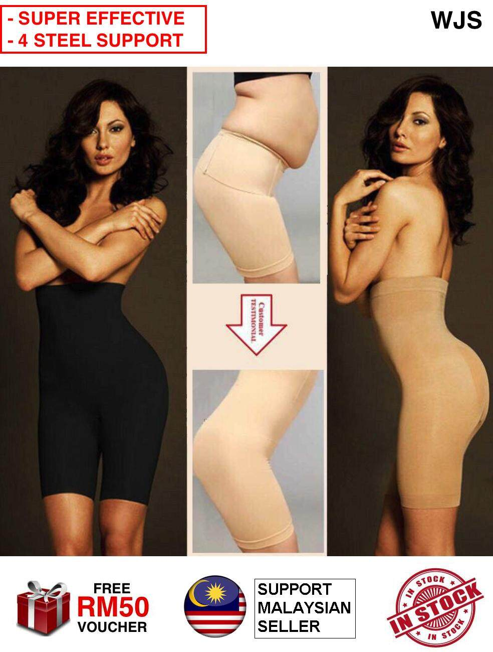 (SUPER EFFECTIVE + 4 STEEL SUPPORT) WJS PLUS SIZE High Waist Super Slim Body Shaping Corset Waist Trainer Tummy Control Slimming Shape Girdle Bengkung Panty / Panties Korset / Corset Pants / Seluar Dalam Pengempis Perut UP TO 4XL [FREE RM 50 VOUCHER]