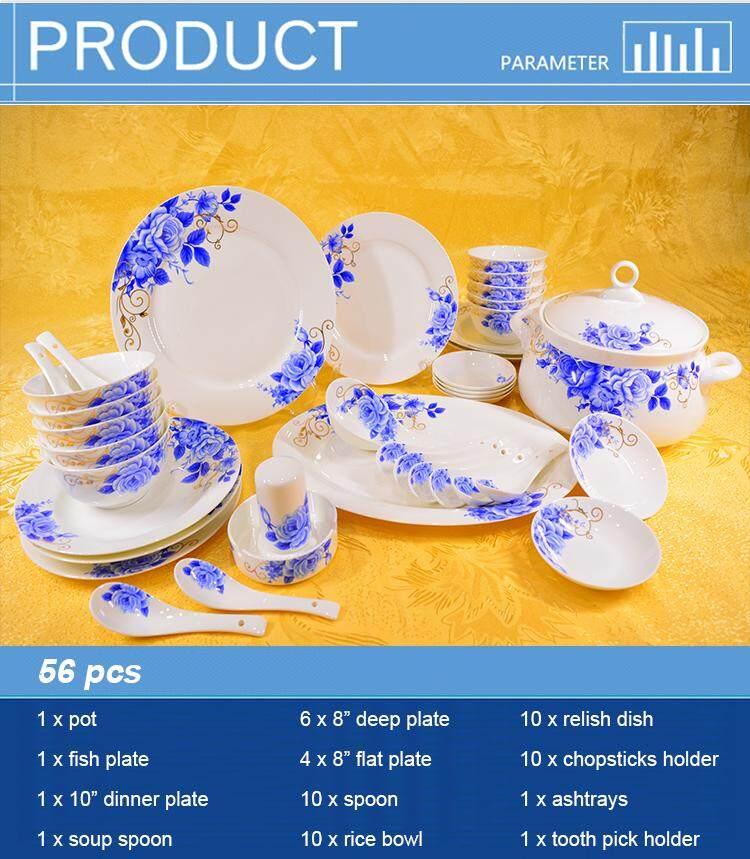 Royal Blue Fine Porcelain Dinnerware Plate 56pcs
