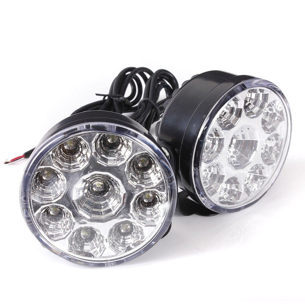 Engine Parts - 2x White 12V 9 LED Car DRL Round Daytime Running Light - Car Replacement