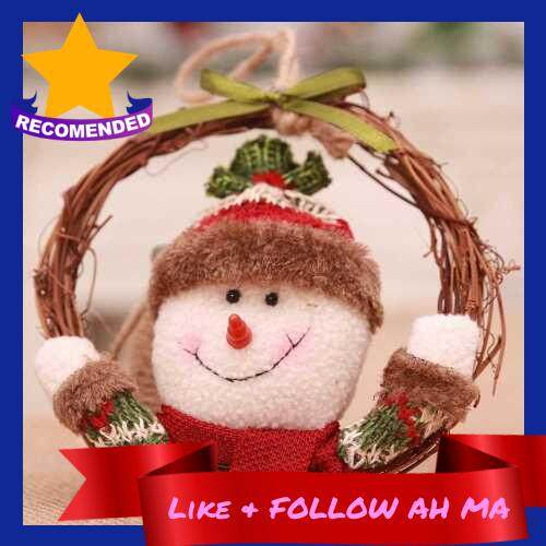Best Selling Xmas Home Decor Natural Rattan Wreath Santa, Snowman, Elk Wreath Crafts Happy Christmas Decoration Spring Wedding Wreath (Multicolor)