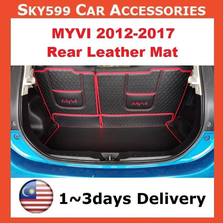 Perodua Myvi 2012-2017 Leather Rear Boot Cargo Car Floor Mats Trunk Mat Pad Leather Car
