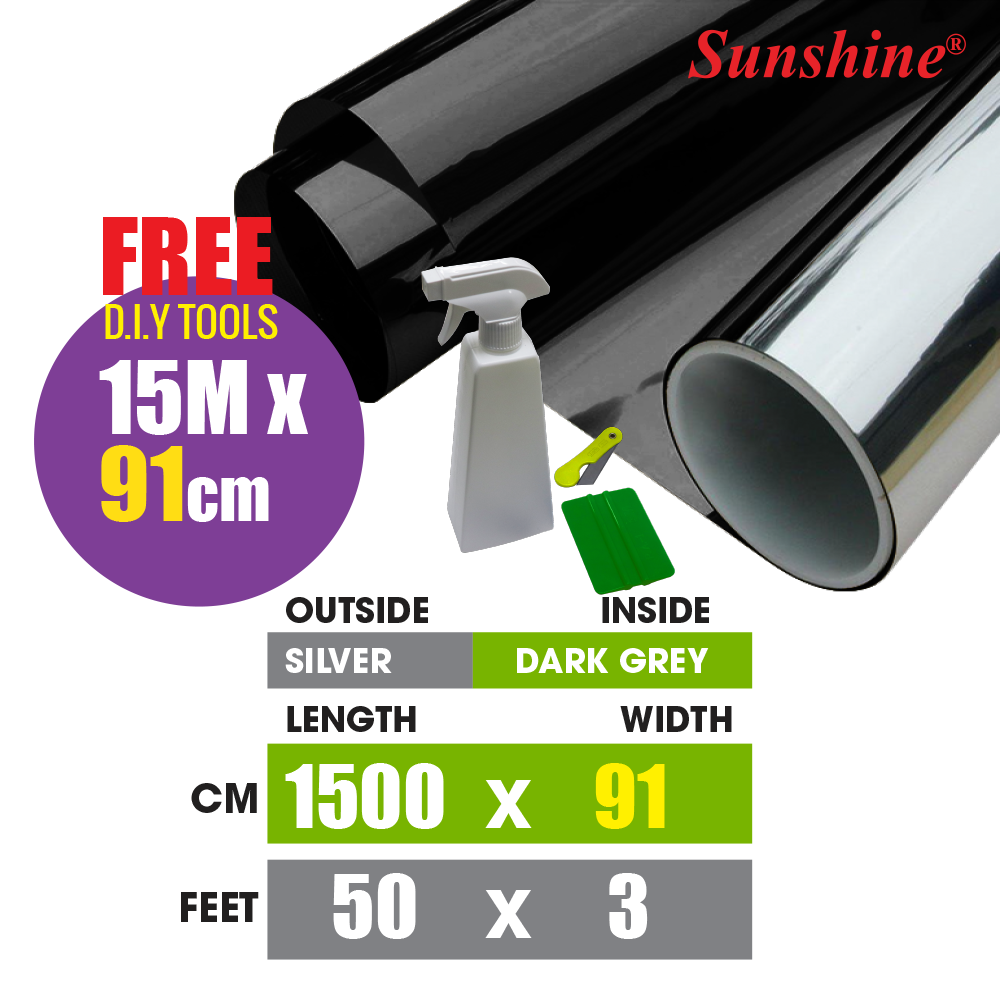 AUTO TINTED 【5ftX3ft】2PLY SMOKE DZ 05 [FREE CUTTER] SPECIAL CUTTING ROLL FILMS / BLACK FILM/ REFLECTIVE / AUTOMOTIVE / COMMERCIAL