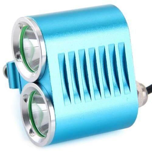 DARK KNIGHT K2E 2 X CREE XML-T6 LED BIKE HEADLIGHT 4 MODES BICYCLE LIGHT - EU PLUG 2400LM 7000K (BLUE)