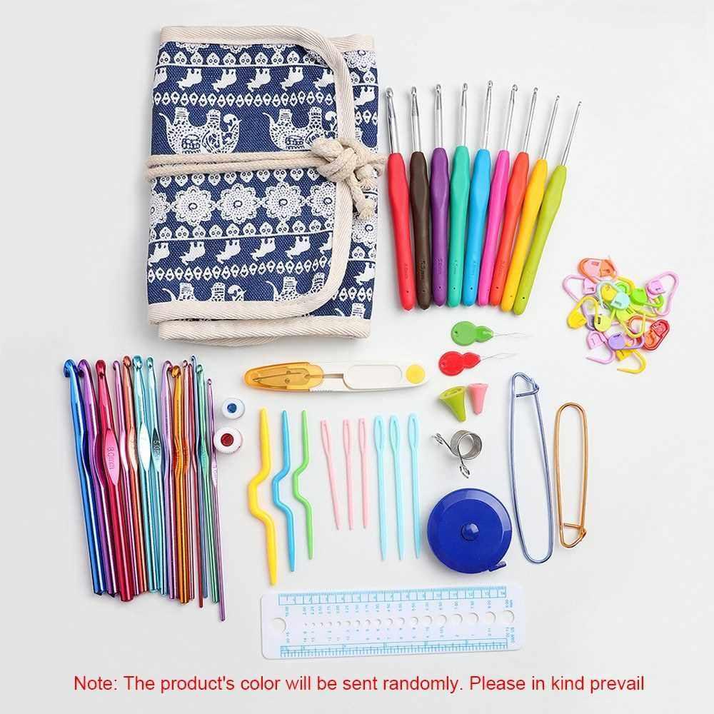 65 Pcs Crochet Hooks Set with Storage Bag Ergonomic Handles Crochet Hook Kit Knitting Needles Weave Yarn Kits DIY Hand Knitting Art Tools (Standard)