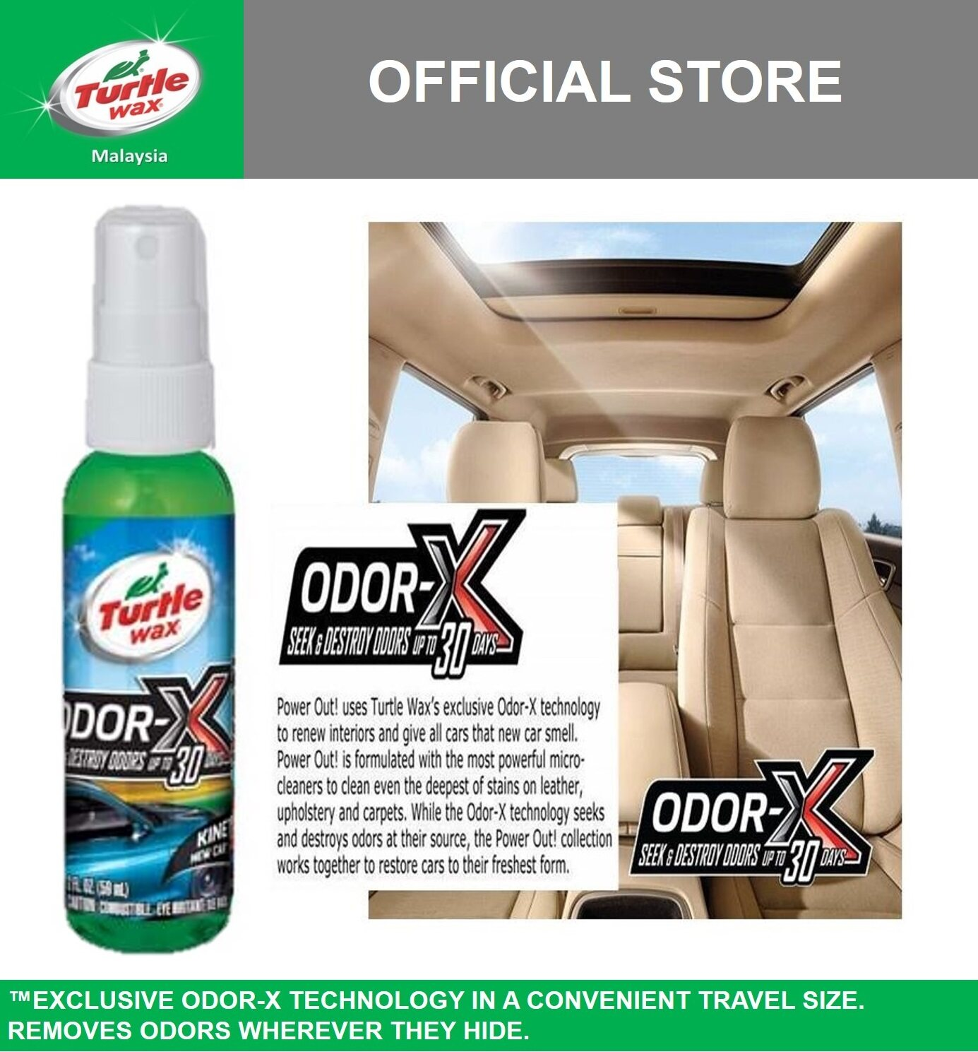 Turtle Wax Odor-X Travel Spray - Kinetic New Car Scent   59ml  T-50661