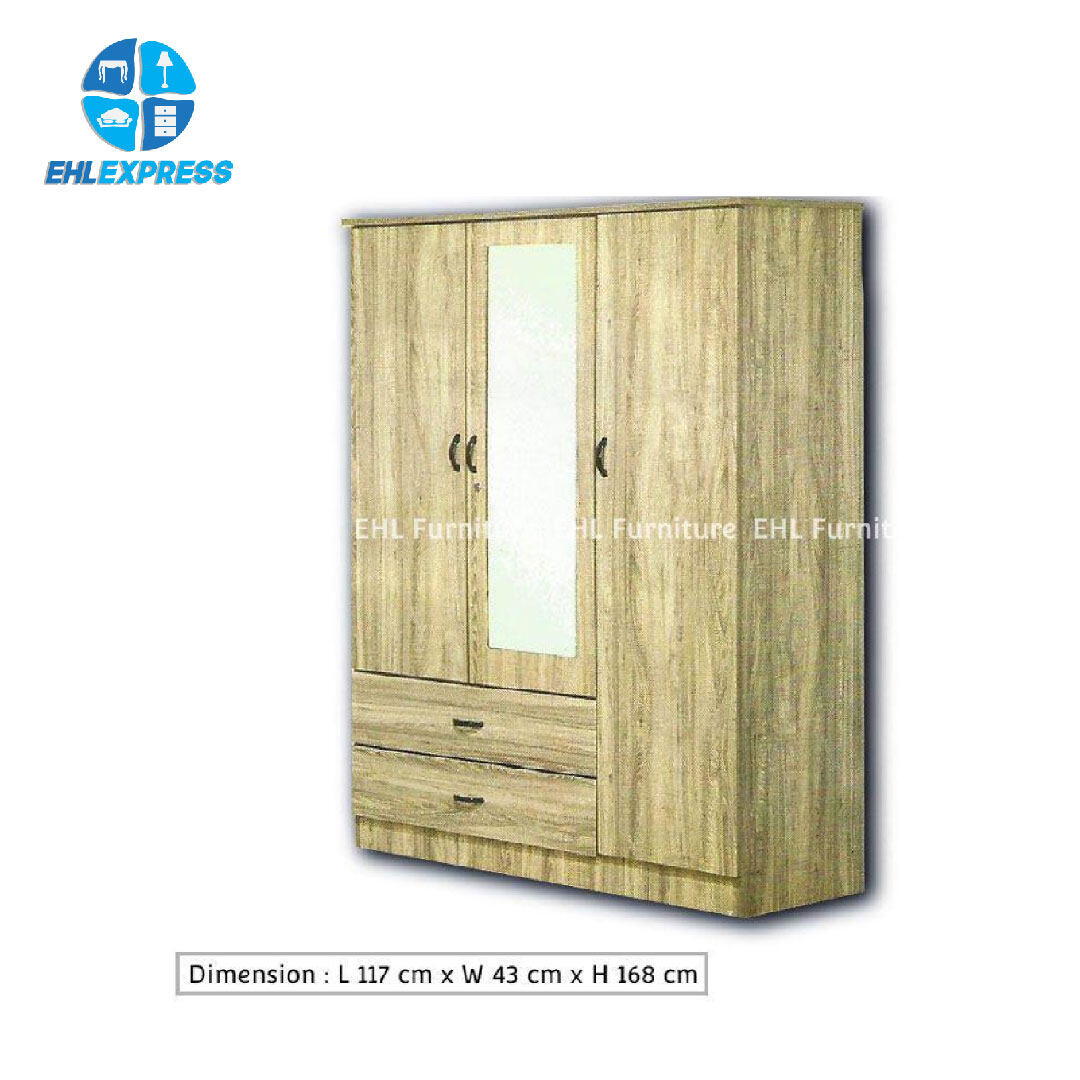 EHL EXPRESS Wardrobe 3 Doors 2 Drawers with mirror